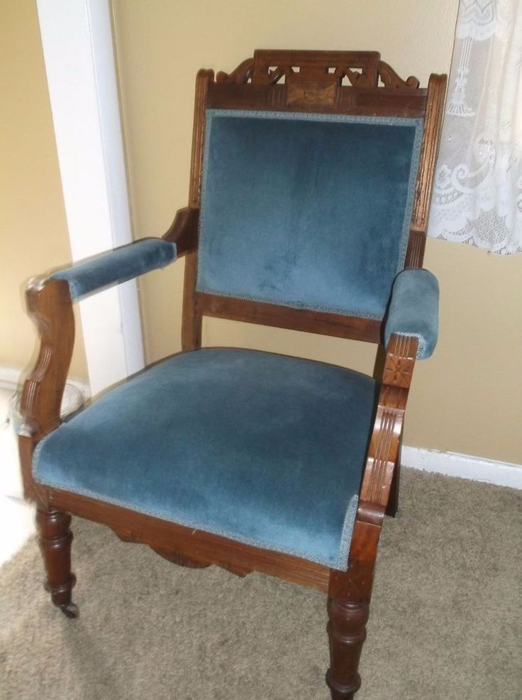 Circa 1890 Most Excellent Victorian Eastlake Parlor Arm Chair Blue Velvet  #Victorian #unknown - The 176 Best Victorian Furniture Eastlake Images On Pinterest