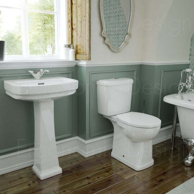 Traditional WC Toilet And Pedestal Basin 4 Piece Bathroom Suite Photo