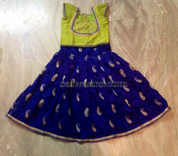 Cotton Mixed Silk Blue Lehenga - Indian Dresses