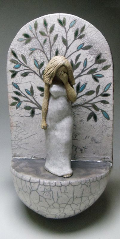 ceramic sculpture, figurative, woman, goddess, tree of life, raku, stoneware, wall hanging on Etsy