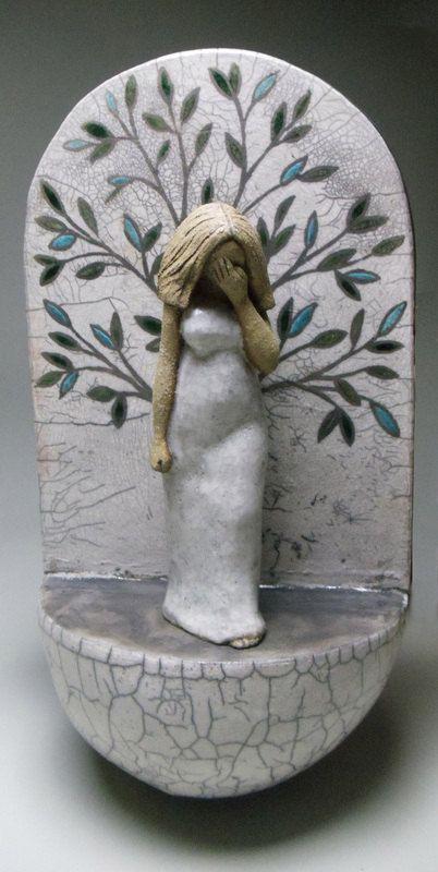 ceramic sculpture, figurative, woman, goddess, tree of life, raku, stoneware, wall hanging on Etsy
