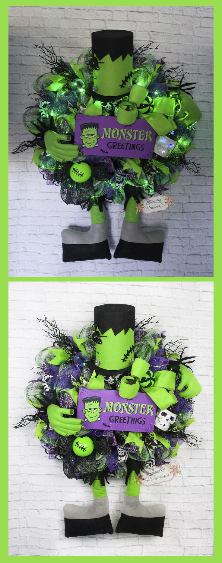 Light up Halloween Wreath, Frankenstein Wreath, Monster Wreath, Character Wreath, by Splendid Homecrafts on Etsy