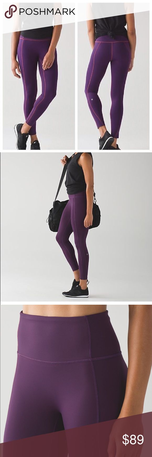 "Lululemon like nothing 7/8 tight ""Like Nothing 7/8 tight"" Retails for $128  Color darkest magenta  Size 2  Nulux material! Lululemon's new fabric that feels like you're not wearing anything - smoother than Lyon and not as paper-y feeling as the Tight Stuff Tights - they offer nice support and sweat-wicking, quick-drying as well!  High rise for a held in feeling  Pocket hidden in inside back.   New with tags  PRICE FIRM! lululemon athletica Pants Leggings"