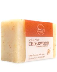 Cedarwood Soap This soap has a woodsy aroma and astringent properties that make it perfect for those with a lot of physical activity in their life. Cedar Wood and Fir Needle Essential Oils are stimulating, refreshing and have astringent qualities that help remove excess oils from the skin. Fir Needle Oil also has deodorizing properties. Blue Cornmeal is a natural exfoliant that helps remove dirt and oils that may have become embedded in the skin.