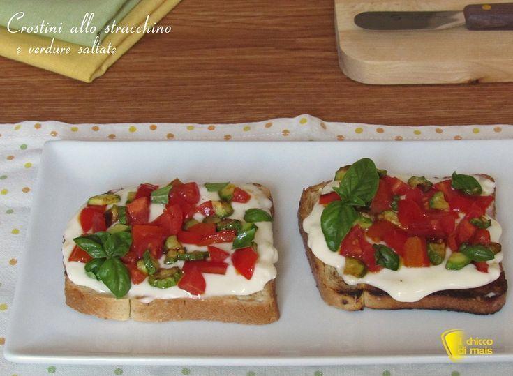 Crostini+allo+stracchino+e+verdure+saltate