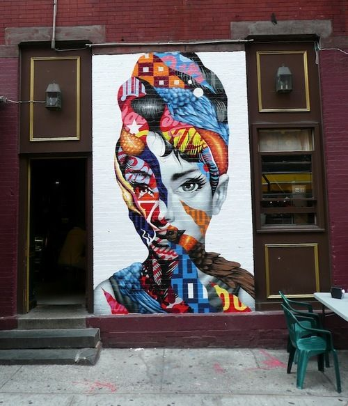 """""""Don't take me home until I'm drunk….until I'm very drunk indeed."""" ~Holly Golightly, Breakfast at Tiffany's Street art by Tristan Eaton via Vandalog"""