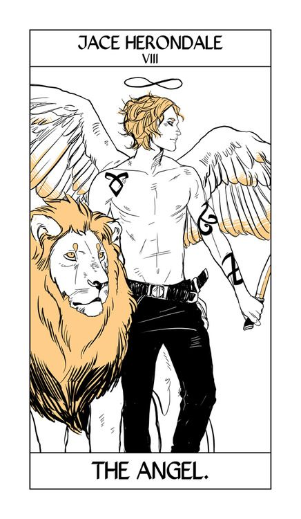 """""""Jace takes the Strength card, here represented as the Angel because of the angel blood in his veins. And because that Angel blood gives him unusual strength. As for why he's shirtless…    Me: Why did you draw him shirtless?    CJ: I like him that way.    Me: Good enough."""" -CC"""