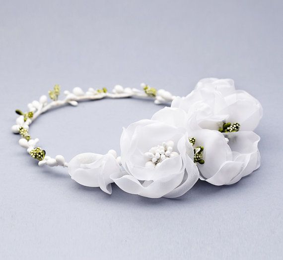 Flower Girl Crown white flower crown floral by FloralHeadpiece