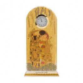 """Goebel - Artis Orbis - Gustav Klimt - The Kiss - Desk clock - Desk/table clock showing """"The Kiss"""" by Gustav Klimt. The clocks are hand-made of flawless, crystal-clear optical glass reflecting the high art of surface grinding. The reflecting effects of the crystal glass are multiplied by a luxury decoration with real gold plating. Height: 23 cm. Length: 11 cm. Width: 4.50 cm. Batteries not included."""