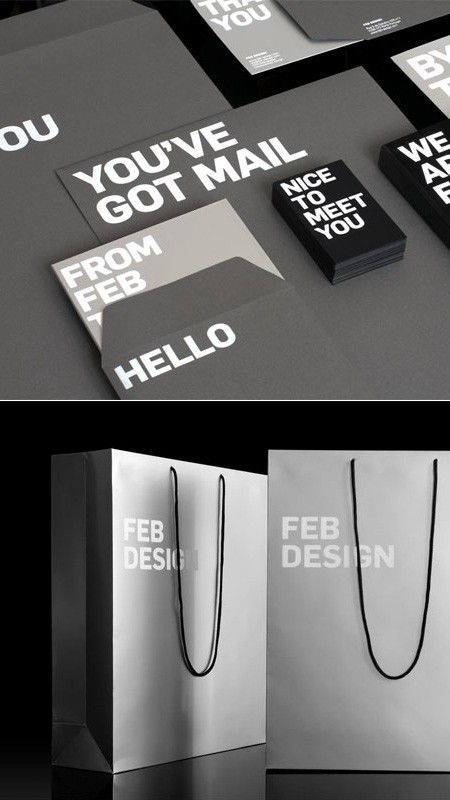 Simplistic, yet bold self-promotional items.