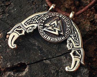 Valknut bronce Futhark runas Odín nórdico amuleto ajustable