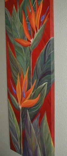 Aloha! Bienvenido a mi vida de sueño de la isla.  Esta es una de mis pinturas al óleo originales. Se llama Three Little Birds, y cuenta con tres preciosa tropical Ave del paraíso de flores en un lienzo vertical mide 3 pies de largo por 1 pie de ancho (36 x 12).  La pintura es una pintura al óleo original, uno de la misma clase, no una impresión o reproducción. Se realiza en una grande 12 x 36 x 3/4 Galería envuelta en lienzo y está pintada por todos lados, así que no hay necesidad de un…