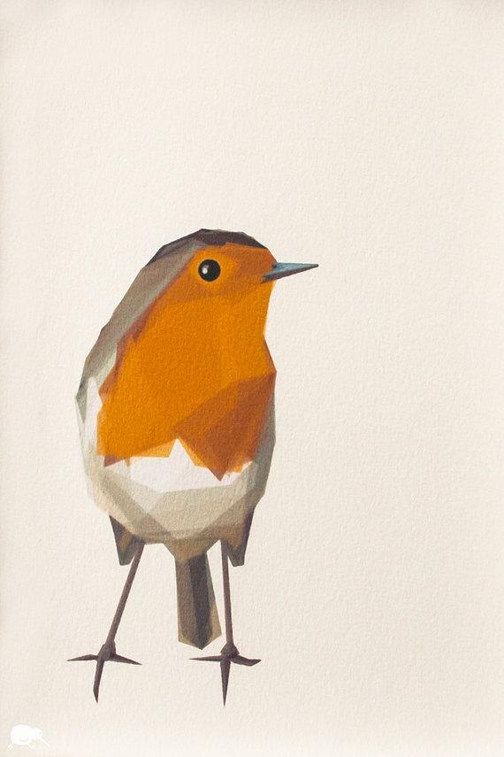 Robin Geometric Minimal Bird print Original by TinyKiwiCreations, $16.00
