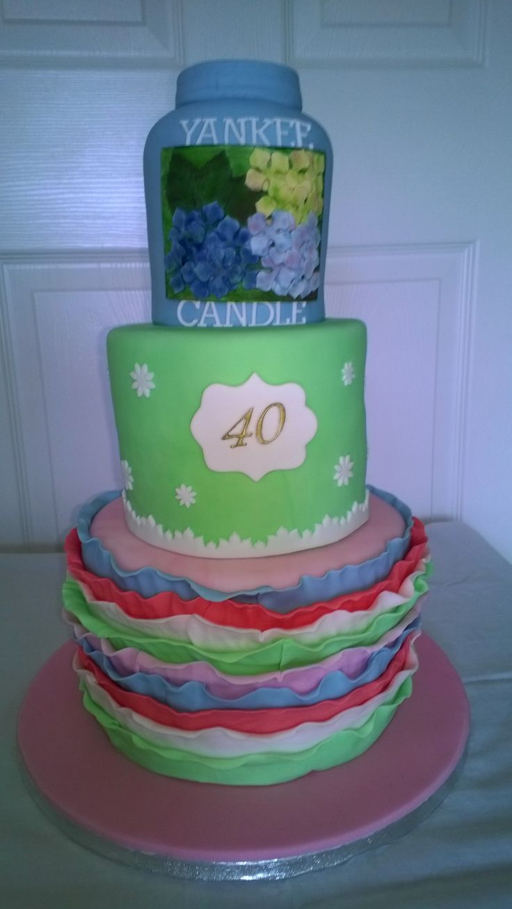 40th birthday cake.  Yankee Candle top with Cath Kidston-type colours
