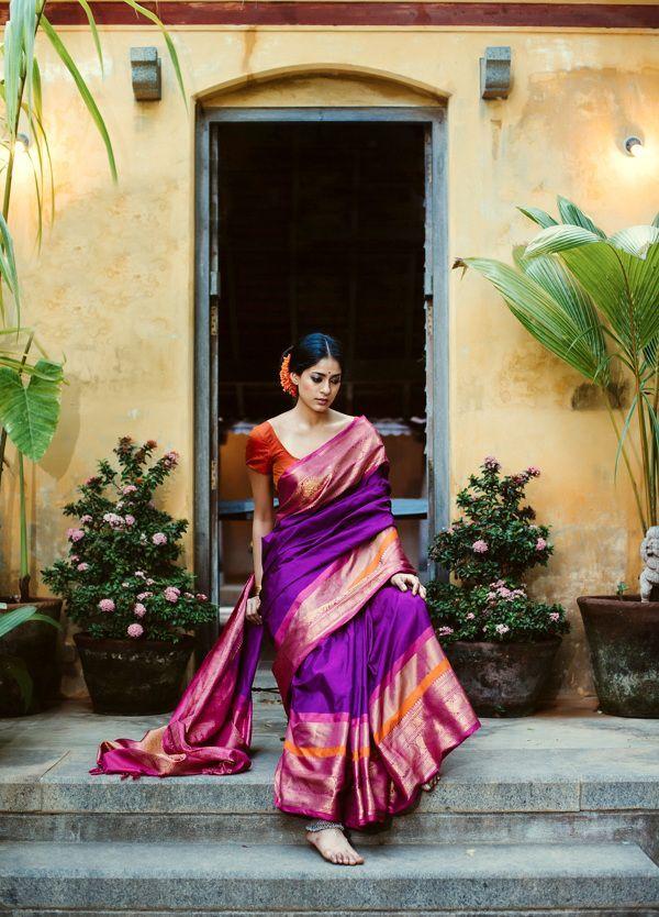 Purple kanjivaram saree with pink border and orange blouse - MinMit Clothing