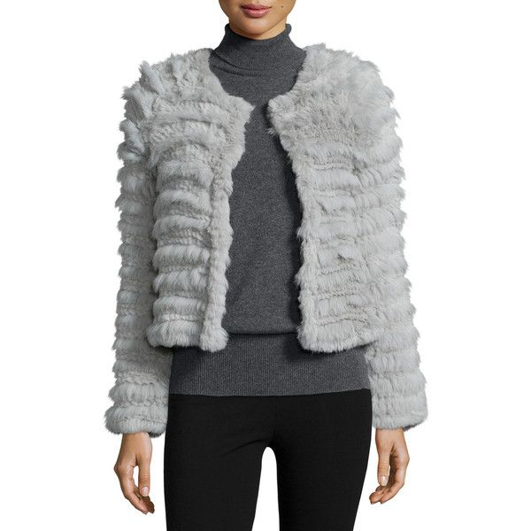 Cusp by Neiman Marcus Long-Sleeve Rabbit-Fur Jacket ($160) ❤ liked on Polyvore featuring outerwear, jackets, silver grey, rabbit fur jacket, slim jacket, cusp by neiman marcus, long sleeve jacket and rabbit jacket