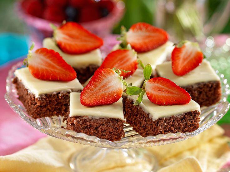 Chokladrutor med vaniljglasyr