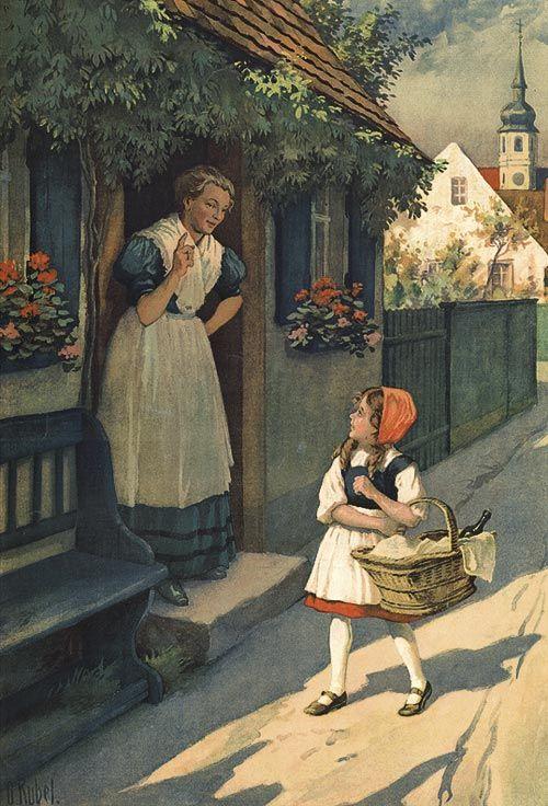 Rotkäppchen 6 Faksimile O. Kübel Rarität 1910 Märchen 4
