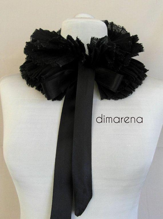 black  collar //ruffle collar// detachable by dimarena on Etsy