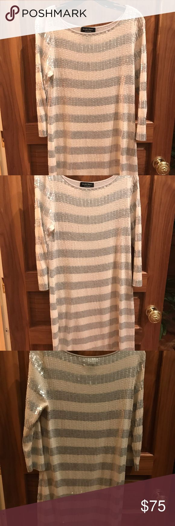 Striped Sequin Dress Sequin Dress striped cream and silver  Three quarter sleeves - barely worn - light and very comfortable wear Ellen Tracy Dresses Long Sleeve