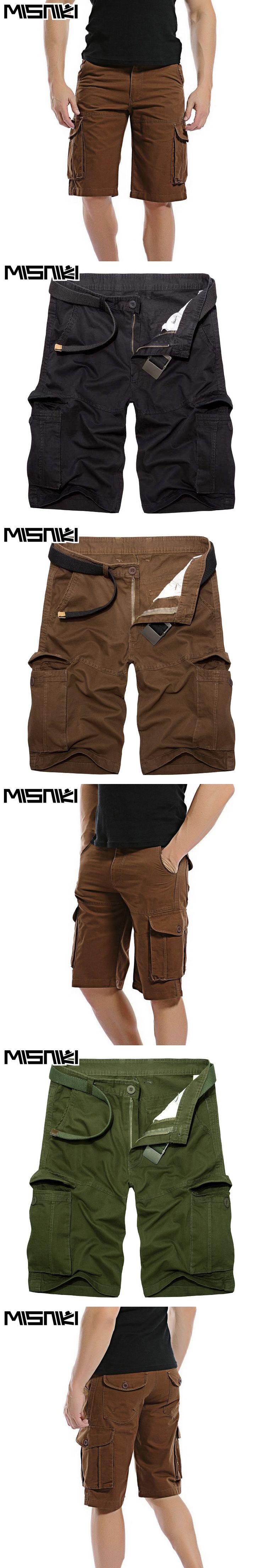 MISNIKI Summer Cargo Shorts For Men 2017 Casual Slim Cotton Solid Mens Shorts