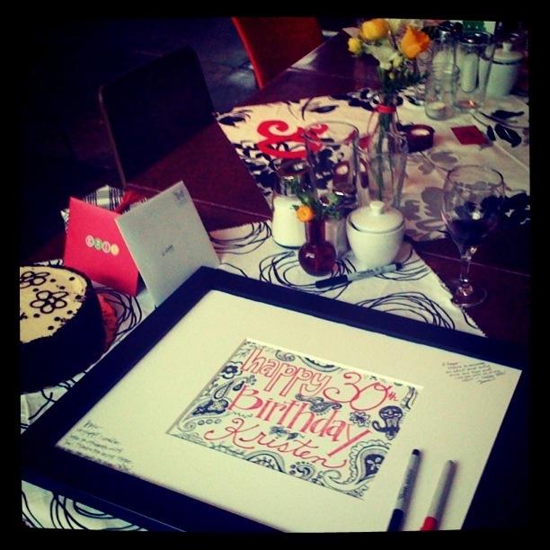 Birthday guest book frame. (Original artwork by Bee Studio Design)