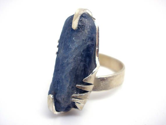 FREE SHIPPING Rough Kyanite Silver Ring Natural Raw Kyanite