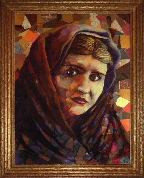 Collage portrait of the artist grandmother in a scarf, painted from an old photo from the 1940s
