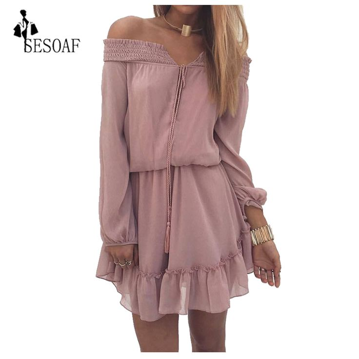 FREE SHIPPING Long Sleeve sexy off shoulder V enck Ties Dress JKP289