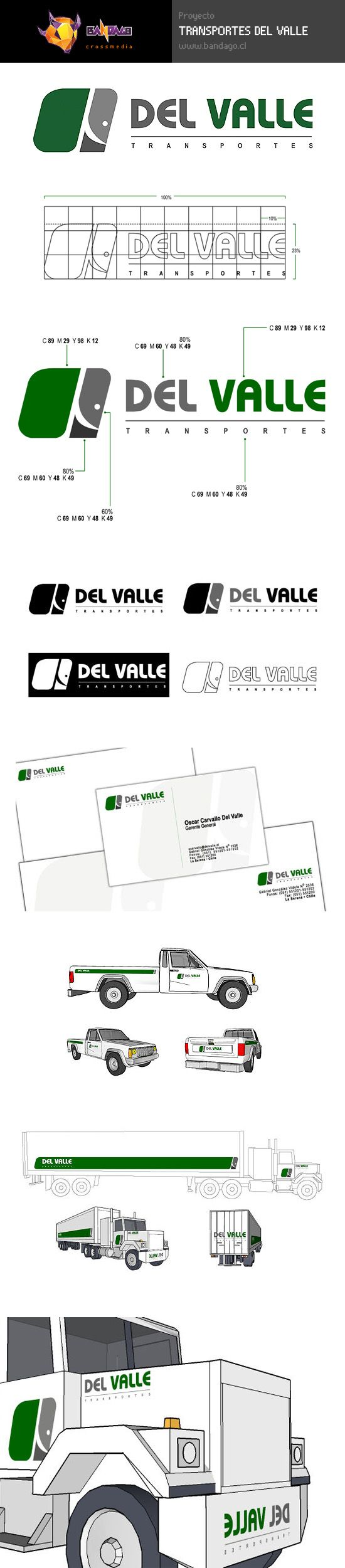 Diseño de imagen corporativa para empresa de transportes.  https://www.behance.net/gallery/28571401/2005-Transportes-del-Valle-Logotype