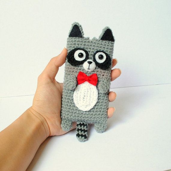Crocheted Raccoon Cell Phone Cozy Made to Order by OneLoveCottage, $22.00