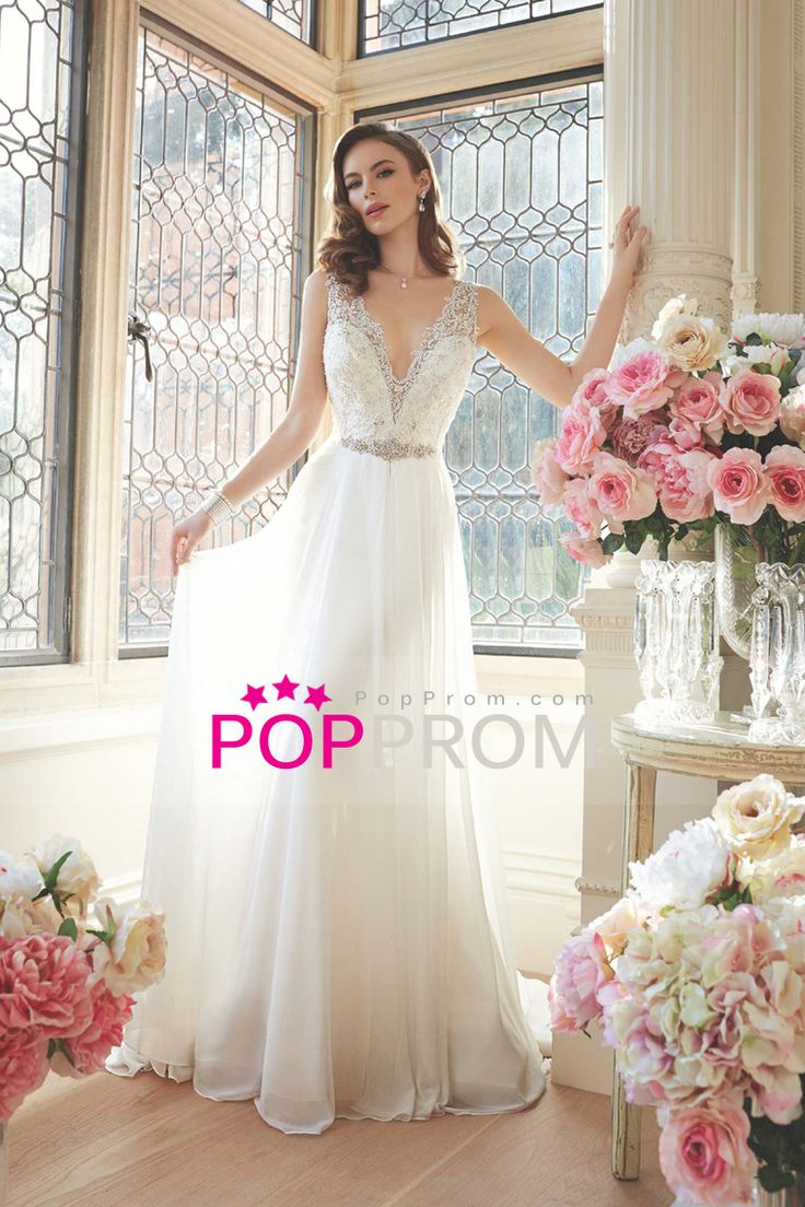 2016 Wedding Dresses A Line V Neck  Sleeveless Chiffon Covered Button Back With Beading/Sequins