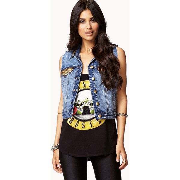 FOREVER 21 Stud Queen Denim Vest ($28) ❤ liked on Polyvore featuring outerwear, vests, outfits, conjuntos, full outfit, denim vest, mens waistcoat, studded vest, forever 21 and studded denim vest
