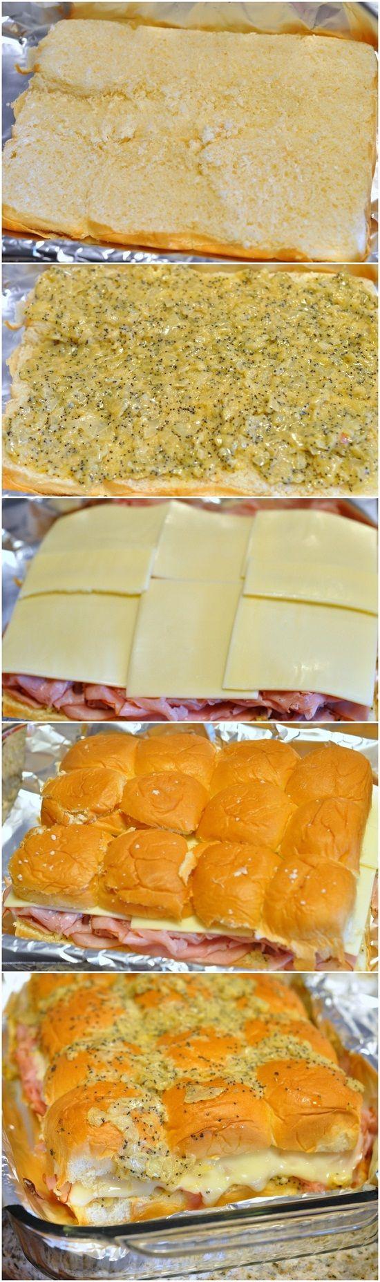 Mini poppy seed ham sandwiches on hawaiian sweet rolls