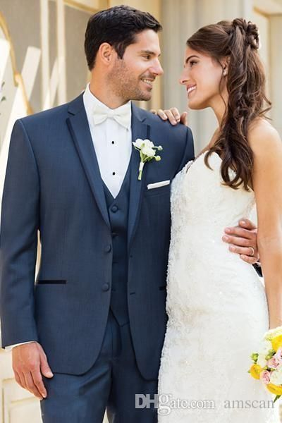 Classic Two Buttons Notched Lapel Groom Tuxedos Groomsmen Jacket+Vest+Pants Three Pieces Mens Suits Custom Made Formal Wedding Party Suit Cheap Tuxedos Rentals Dinner Jackets For Men From Amscan, $67.84| Dhgate.Com
