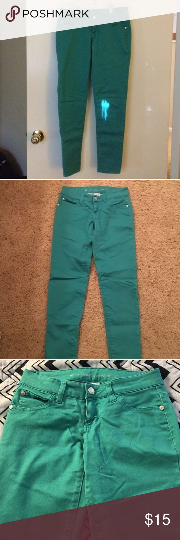 Aqua Jeans Perfect condition (only worn one time) aqua colored celebrity pink jeans from Macy's! Material is 82% cotton, 16% polyester, 2% spandex. Inseam is 27 inches! Macy's Jeans Skinny