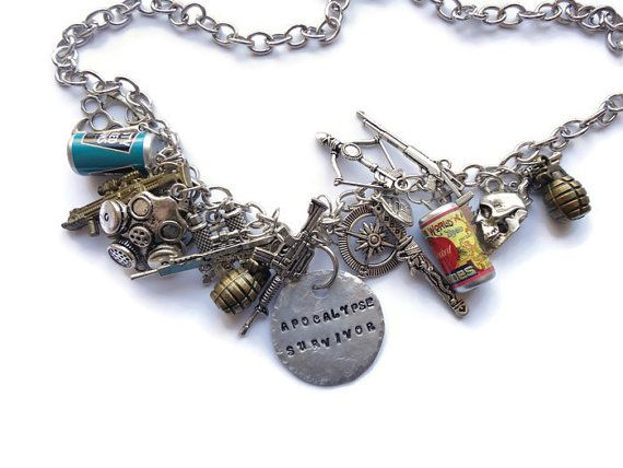 Zombie Necklace  Silver Zombie Necklace Dead by HillyBCreations