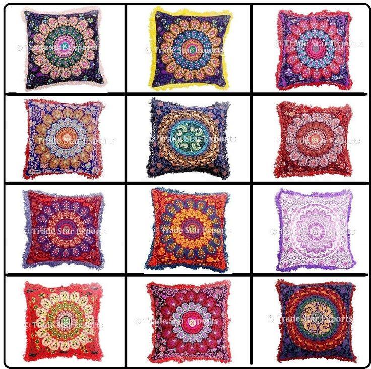 Indian Mandala Fringe Throw Pillow Case 16x16 Decorative Square Cushion Cover #Handmade #ArtDecoStyle