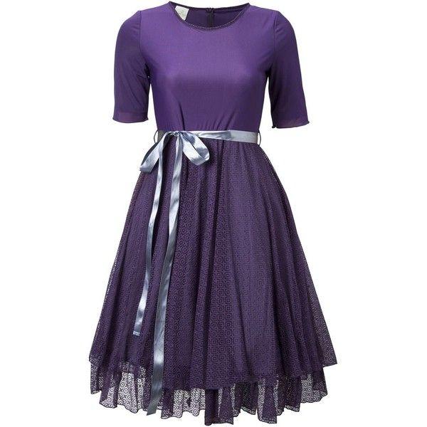 Na'ara Striking Purple Dress ($149) ❤ liked on Polyvore featuring dresses, purple, night out dresses, double layer dress, lace cocktail dress, purple dress and layered lace dress