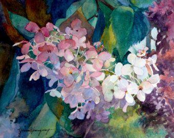 Hortensias pintura bellas arte Giclee Print de acuarela original de otoño hortensias en tonos de rosado, azul y de muralla verde arte