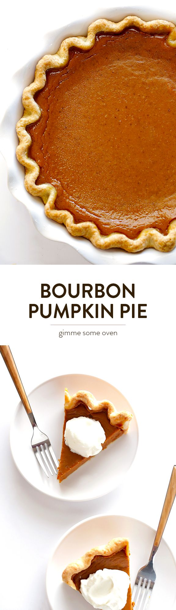 Kick up traditional pumpkin pie with a splash of bourbon!  It's easy to make, and sure to be a hit. | gimmesomeoven.com