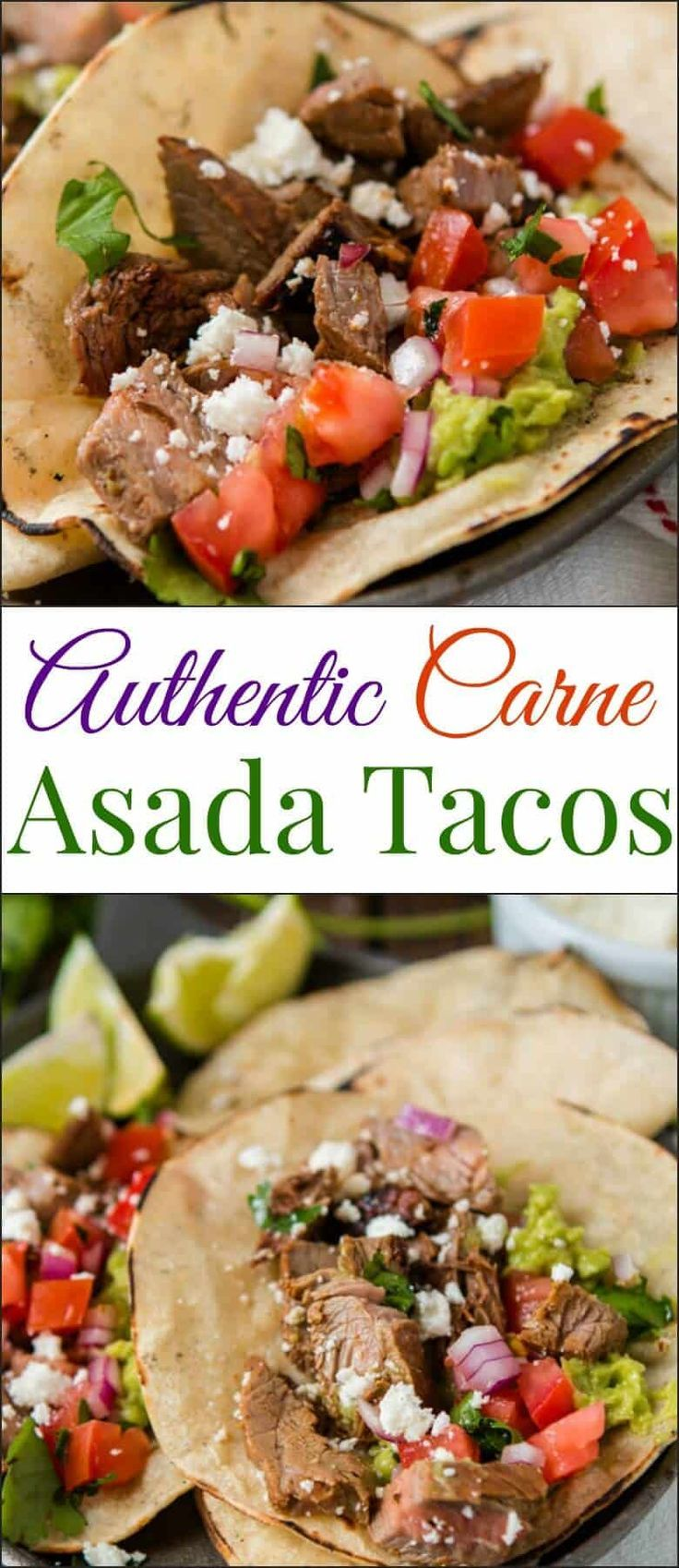 Marinated flank steak makes these authentic carne asada tacos the best we've ever had. Who needs a restaurant or vacation now?! via @ohsweetbasil