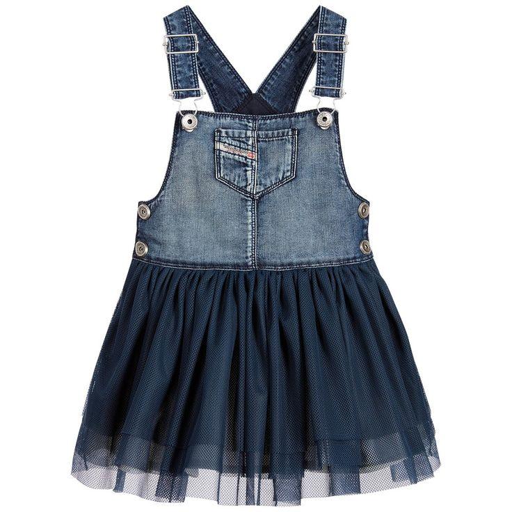 Diesel Girls Blue Denim Dungaree Dress at Childrensalon.com