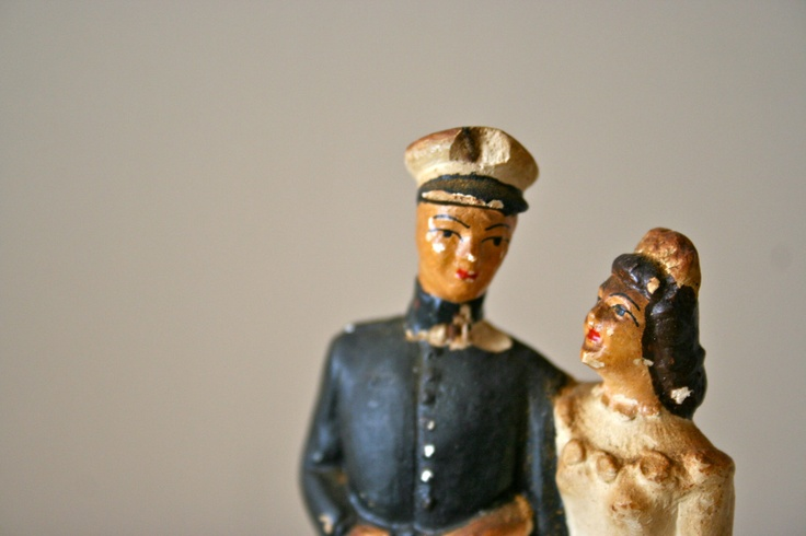 antique wedding cake topper: 1950s military navy groom and bride. $52.00, via Etsy.