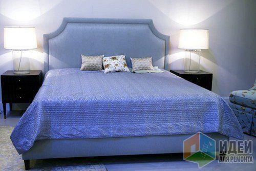 Аксессуары для спальни, декор спальни, синее покрывало на кровати
