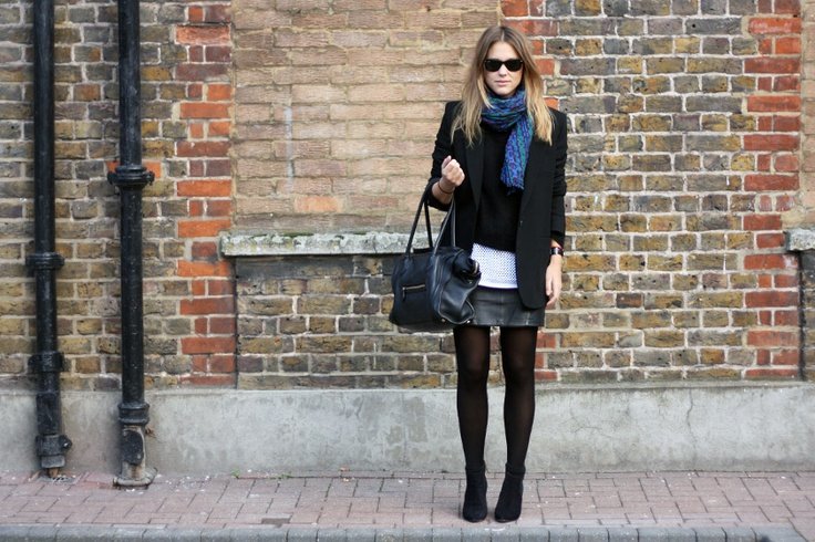 h jumper and leather skirt, isabel marant top and shoes, céline bag, rayban sunglasses, zara scarf.