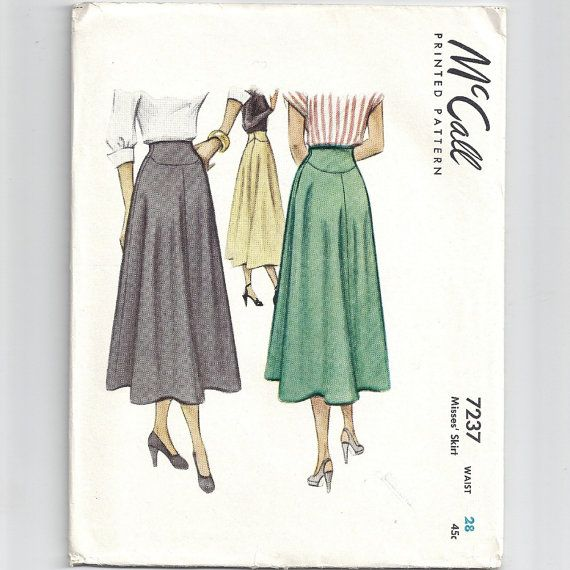 Vintage 1940s McCall Skirt Pattern 7237 Waist 28 by CopperNuggets, $13.00