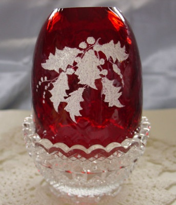 """MNT~VINTAGE~70s""""LOUISE PIPER""""HD PNT""""HOLLY""""FENTON GLASS""""RUBY RED""""FAIRY LIGHT/LAMP"""