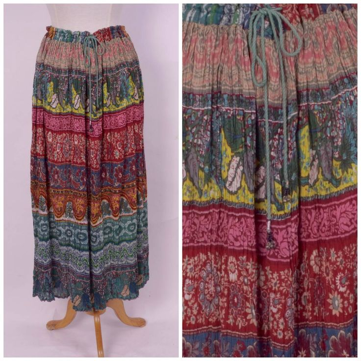 Indian paisley print gauze maxi skirt by JennyandPearl on Etsy