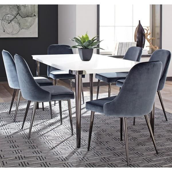 Modern Chic Design Blue Velvet With Metal Legs Dining Chairs Set